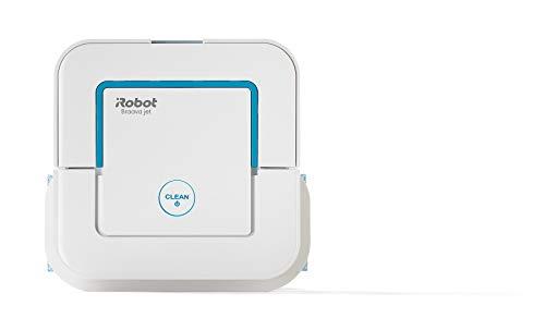 iRobot Braava Jet 240 Wischroboter mit Präzisions-Sprühstrahl, 3 in 1: Trocken-, Feucht- und Nassreinigung, Ideal für Bad und Küche, Einwegtücher und waschbare Tücher, SPOT Clean-Funktion