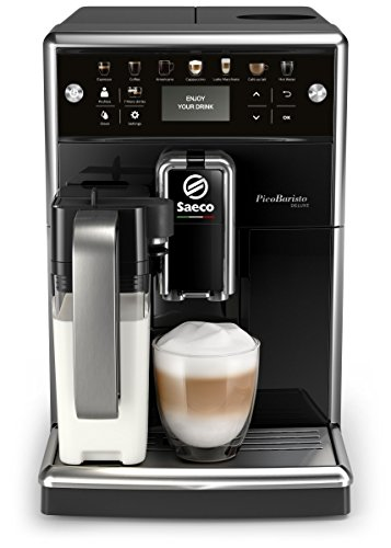 Saeco PicoBaristo Deluxe SM5570/10 Kaffeevollautomat, 12 Kaffeespezialitäten (integriertes Milchsystem, LED Display) Schwarz