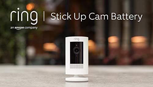 Ring Stick Up Cam Battery von Amazon, HD-Sicherheitskamera mit Gegensprechfunktion, funktioniert mit Alexa | Mit 30-tägigem Testzeitraum für Ring Protect | Weiß