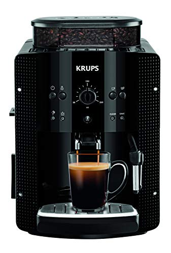 Krups Essential EA8105 Kaffeevollautomat | Espresso und Kaffee | mit CappucinoPlus- Milchdüse | individuell einstellbar | Schnelles Aufheizen | verstellbarer Kaffeeauslauf | Schwarz