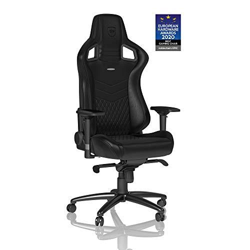 noblechairs Epic Gaming Stuhl - Bürostuhl - Schreibtischstuhl - Echtleder - Inklusive Kissen - Schwarz