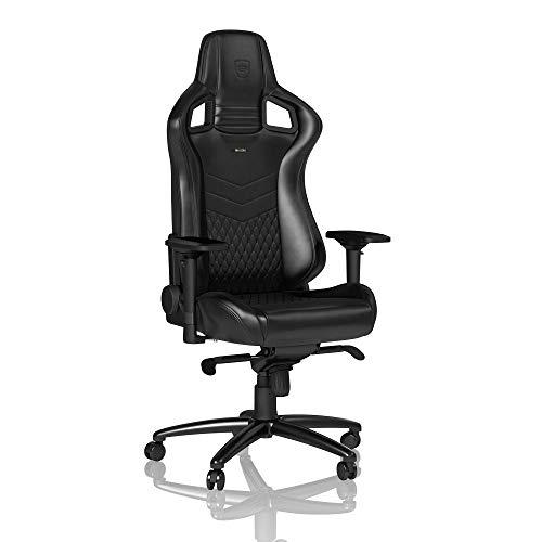 noblechairs Epic Gaming Stuhl - Bürostuhl - Schreibtischstuhl - Nappaleder - Inklusive Kissen - Schwarz
