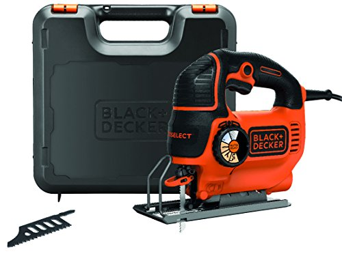 Black+Decker Stichsäge (620W, mit AutoSelect, max. 90 mm Schnitttiefe, Softgriff, Sight-Linie, Schutzbügel, Sägeblasfunktion, inkl. Geradschnitt- und Holzsägeblatt) KS901SEK