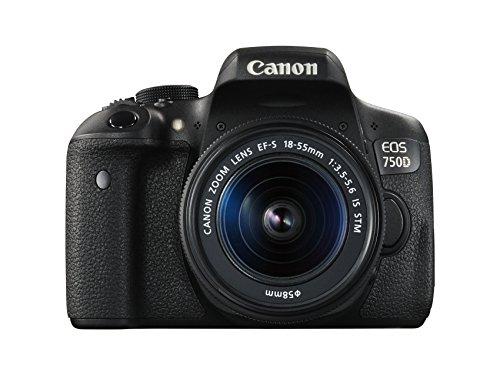 Canon EOS 750D SLR-Digitalkamera (24 MP, APS-CCMOS-Sensor, WiFi, NFC, Full-HD, Kit inkl. EF-S 18-55mm IS STM Objektiv) schwarz