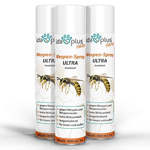 Ida Plus - Wespenspray Ultra gegen Wespen - Bekämpft alle Wespen & Wespennester in Haus, Garten, Dachböden – mit Sofortwirkung – Insektenvernichter zur Wespenbekämpfung 3er Set