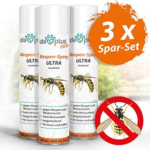 Ida Plus - Wespenspray Ultra gegen Wespen - Bekämpft alle Wespen & Wespennester in Haus, Garten, Dachböden – mit Sofortwirkung – Insektenvernichter zur Wespenbekämpfung – Anti Wespenspray