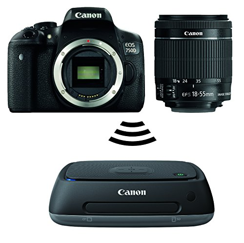 Canon EOS 750D SLR-Digitalkamera (24 MP, APS-CCMOS-Sensor, WiFi, NFC, Full-HD, Kit inkl. EF-S 18-55mm IS STM Objektiv) schwarz