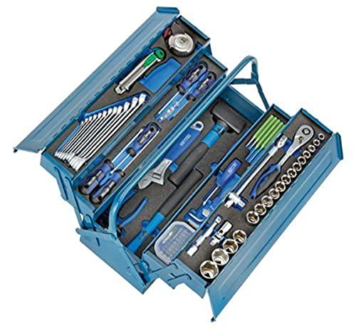 Heyco/Heytec 50807694500 Montage-Werkzeugkasten, Stahlblech 5-fach aufklappbar inklusive 96-teiligem Werkzeugsortiment, 5 Modulen
