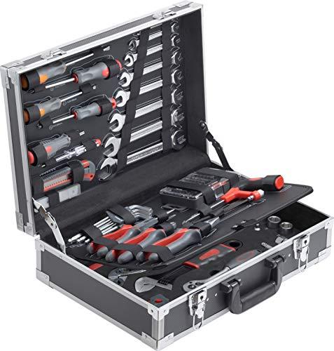 Connex Werkzeugkoffer 116-teilig - Stabiler Alu-Koffer - Werkzeug-Set - Für Haushalt, Garage & Werkstatt / Profi Werkzeugkoffer befüllt / Werkzeugkiste / Werkzeugbox komplett mit Werkzeug / COX566116